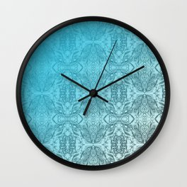 Blue Gradient Floral Doodle Pattern Wall Clock