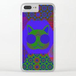 Cat in sunglasses - patchwork7 Clear iPhone Case