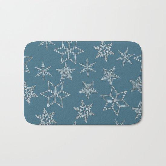 Silver Snowfakes On Teal Background Bath Mat