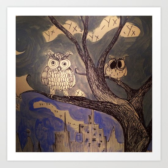 city owls Art Print