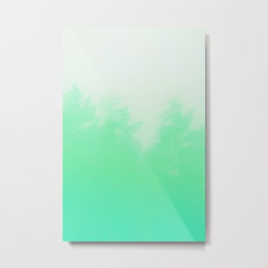 Out of focus - cool green Metal Print