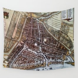 Replica city map of Rotterdam 1652 Wall Tapestry