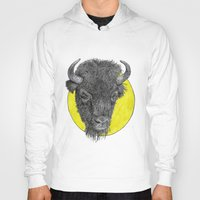 bison Hoodies featuring Bison by Triple_S_Art