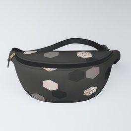 Geometrical pink black gray gold honeycomb pattern Fanny Pack