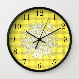 yellow lines pattern with bouquet Wall Clock