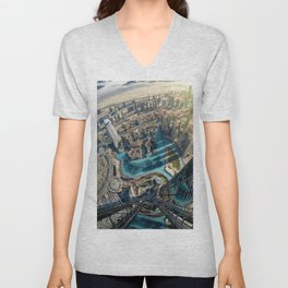 On top of the world, Burj Khalifa, Dubai, UAE Unisex V-Neck