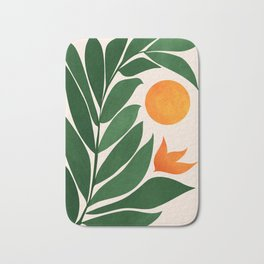 Tropical Forest Sunset / Mid Century Abstract Shapes Bath Mat