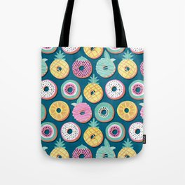 Undercover donuts // turquoise background pastel colors fruit donuts Tote Bag