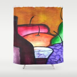 Fruits And Wine Still Life Painting By Saribelle Shower Curtain