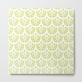 Mid Century Modern Flower Pattern 731 Chartreuse Metal Print
