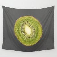 kiwi Wall Tapestries featuring kiwi by jon hamblin
