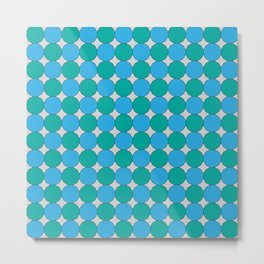 Teal and Turquoise Dodecagons on Silver Metal Print