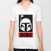 boba V-neck T-shirts featuring Defy-Boba by IIIIHiveIIII