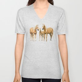 Beautiful Palomino Quarter Horses In Snow Unisex V-Neck