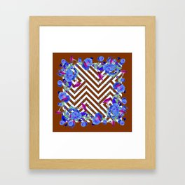 Coffee Brown Blue Morning Glories Abstract Pattern garden  Art Framed Art Print