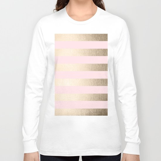Simply Striped in White Gold Sands and Flamingo Pink Long Sleeve T-shirt