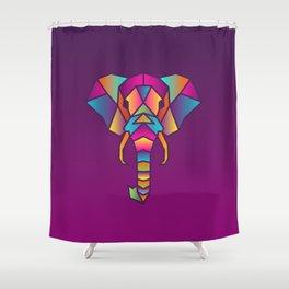 Elephant   Geometric Colorful Low Poly Animal Set Shower Curtain