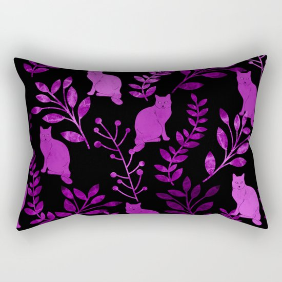 Watercolor Floral and Cat II Rectangular Pillow