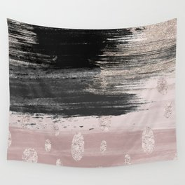 Abstract blush pink black gray gold glitter brushstrokes Wall Tapestry