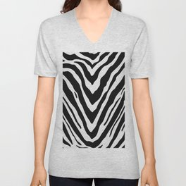 Zebra Stripes in Black and White Unisex V-Neck