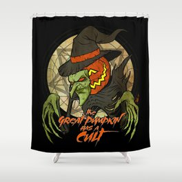 Cult of the Great Pumpkin: Witch Mask Shower Curtain
