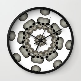 Creepy Human Skull Mandala Wall Clock