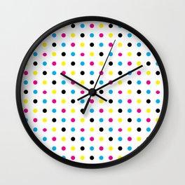 Light CMYK Polka Dots Wall Clock