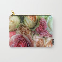 Roses - Pink and Cream Carry-All Pouch