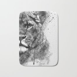 Black And White Half Faced Lioness Bath Mat