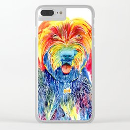 Colorful Tie Dye Wirehaired Pointing Griffon Clear iPhone Case