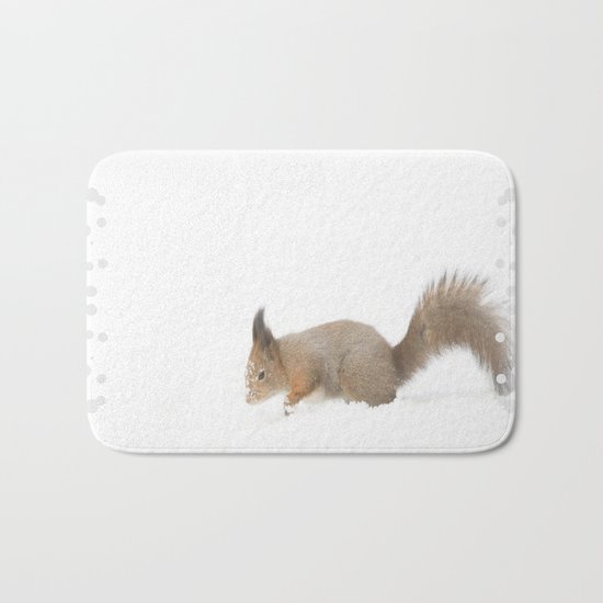 Little squirrel sitting in the snow Bath Mat