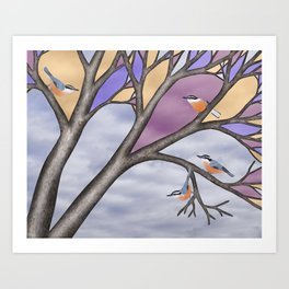 red breasted nuthatches in the stained glass tree Art Print