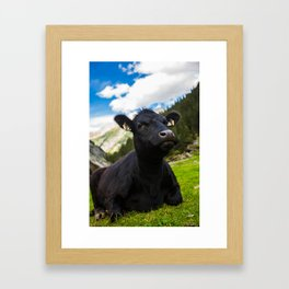 Cow in Austrian Alps Framed Art Print