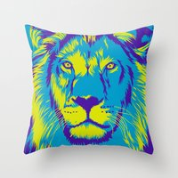 the lion king Throw Pillows featuring KING LION by free_agent08