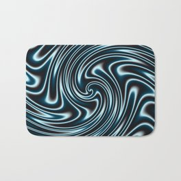 Blue and Black Licorice Ribbon Candy Fractal Bath Mat