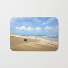 Loquillo Beach Photography - Turquoise Ocean, Blue Sky, Warm Golden Sand Bath Mat