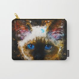 holy birma cat blue eyes splatter watercolor Carry-All Pouch