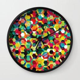 Colorful Half Hexagons Pattern #02 Wall Clock