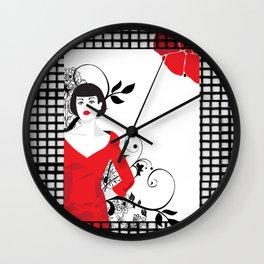 B&W+red Wall Clock