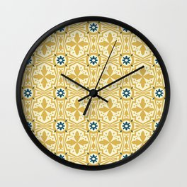 Geometric flowers and leaves Wall Clock