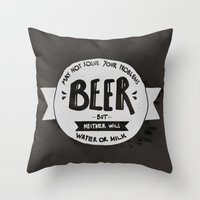 beer Throw Pillows featuring Beer by Juliana Rojas | Puchu