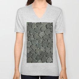Dark Grey Sliced Stone Unisex V-Neck
