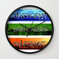 divergent Wall Clocks featuring Divergent by All Things M