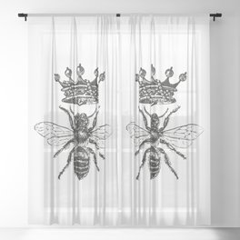 Queen Bee   Vintage Bee with Crown   Black and White   Sheer Curtain