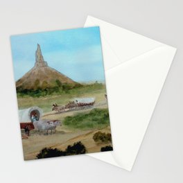 Passing Chimney Rock on the Dusty Oregon Trail Stationery Cards
