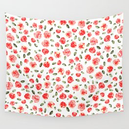 Red Roses Watercolor // Hand Painted Watercolor Floral // Rose Red and Leaf Green Wall Tapestry