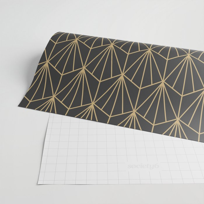 Art Deco Vector in Charcoal and Gold Wrapping Paper