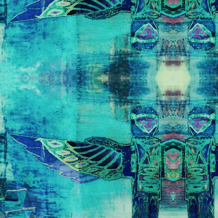 Totem Cabin Abstract - Teal Leggings