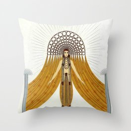 "Art Deco Oriental Design ""Café Foujita"" Throw Pillow"