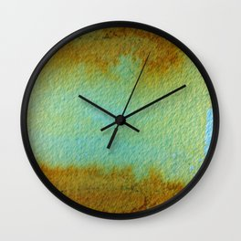 Rusted Turquoise Abstract Painting Wall Clock